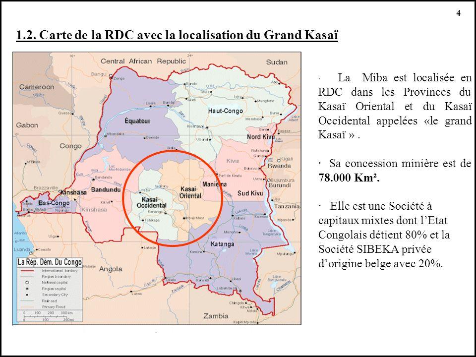 1.2. Carte de la RDC avec la localisation du Grand Kasaï