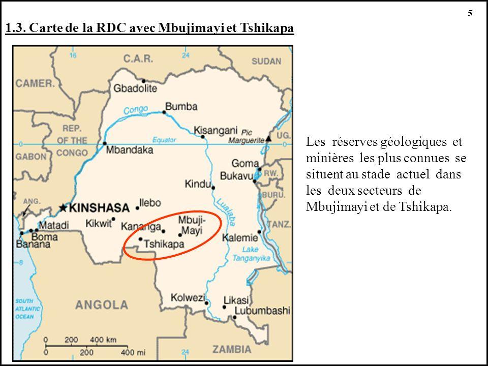 1.3. Carte de la RDC avec Mbujimayi et Tshikapa