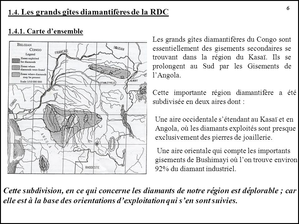 6 1.4. Les grands gîtes diamantifères de la RDC. 1.4.1. Carte d'ensemble.