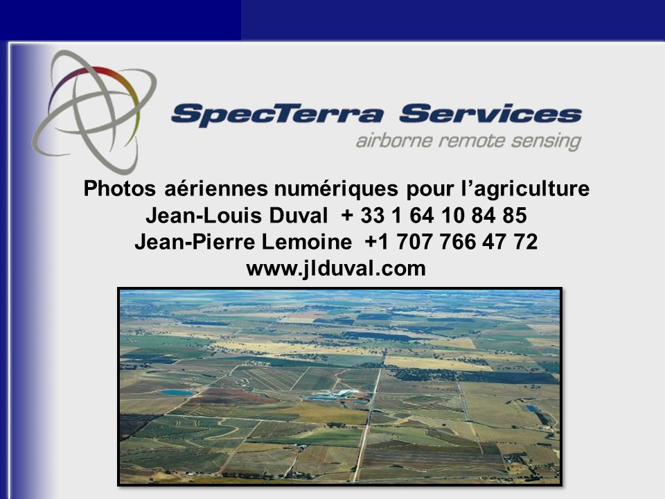 Photos aériennes numériques pour l'agriculture