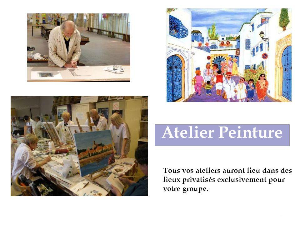 Atelier Peinture Tous vos ateliers auront lieu dans des lieux privatisés exclusivement pour votre groupe.
