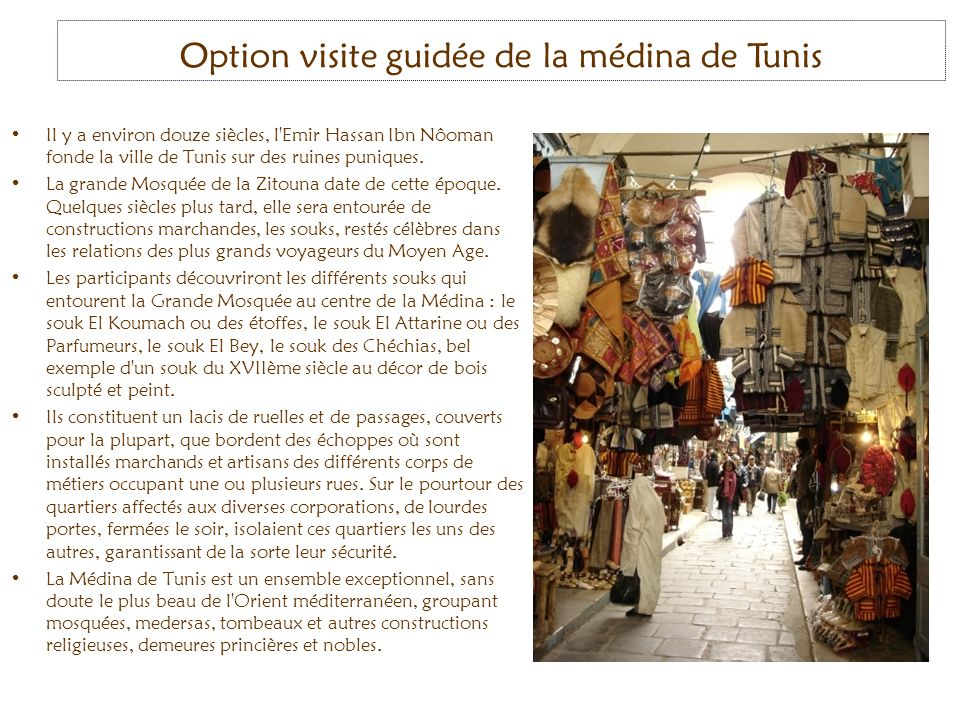 Option visite guidée de la médina de Tunis