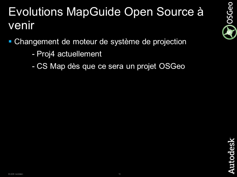 Evolutions MapGuide Open Source à venir