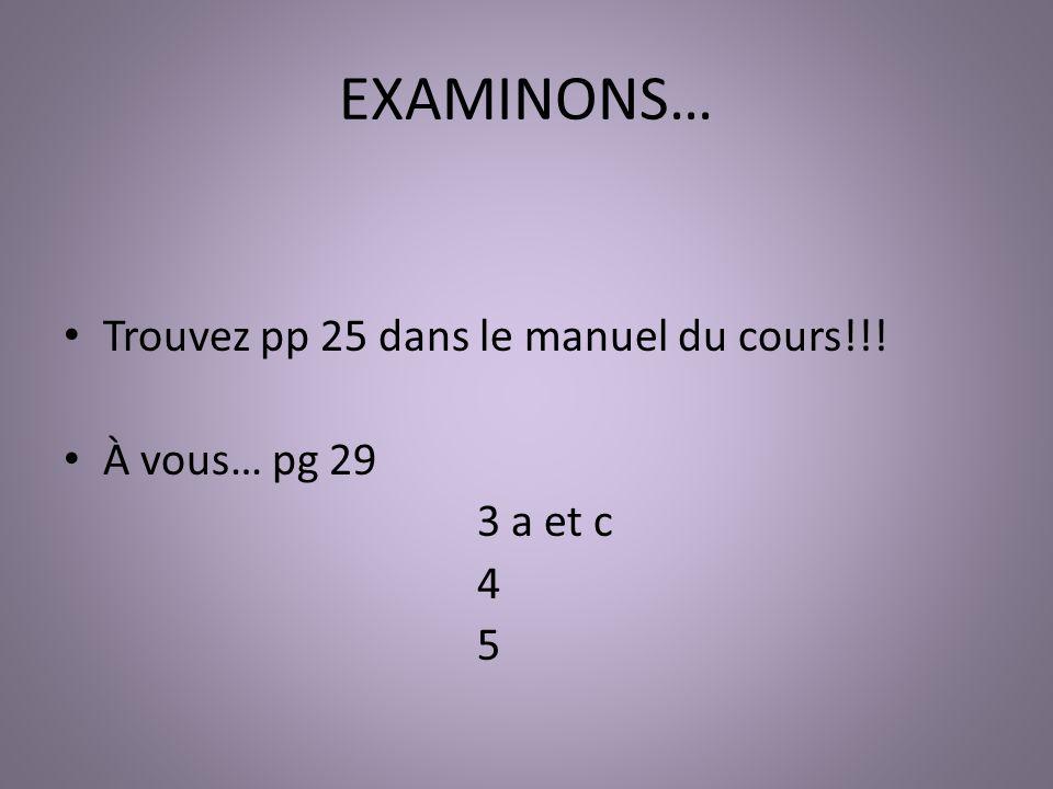 EXAMINONS… Trouvez pp 25 dans le manuel du cours!!! À vous… pg 29