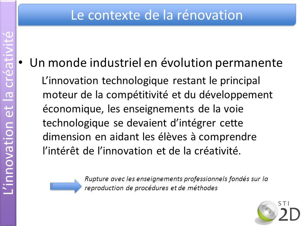 L'innovation et la créativité Le contexte de la rénovation