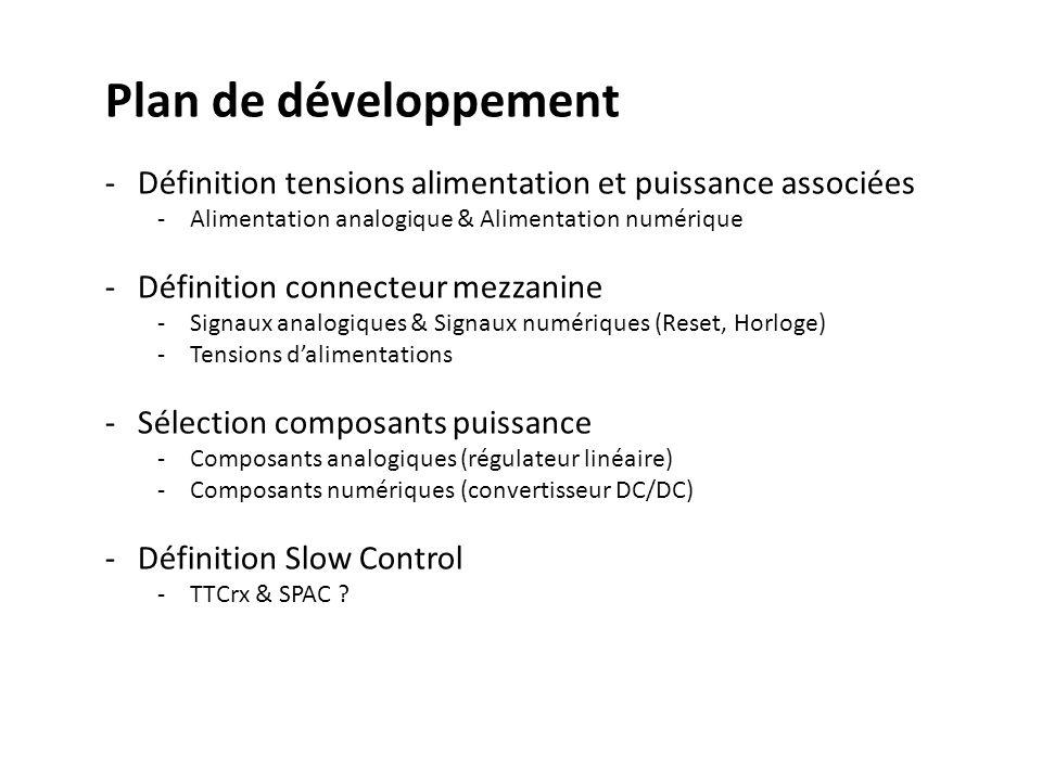 Plan de développement Définition tensions alimentation et puissance associées. Alimentation analogique & Alimentation numérique.