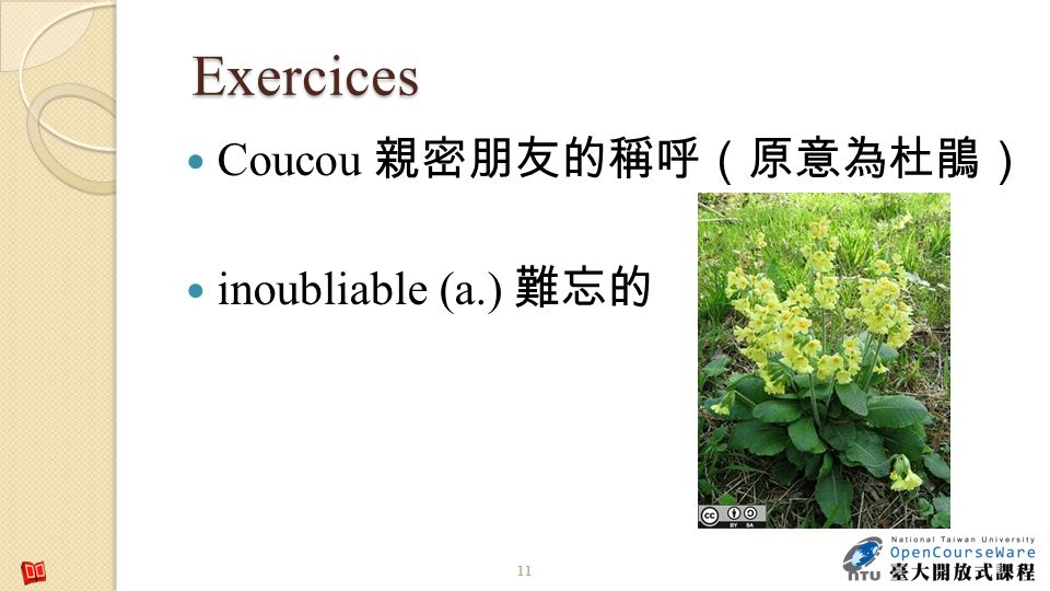 Exercices Coucou 親密朋友的稱呼(原意為杜鵑) inoubliable (a.) 難忘的