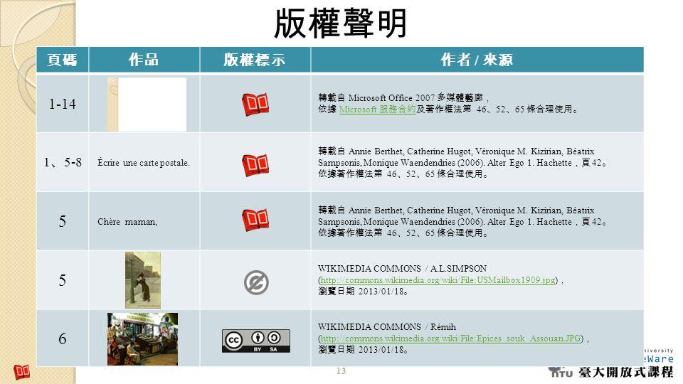 版權聲明 5 6 頁碼 作品 版權標示 作者 / 來源 1-14 1、5-8