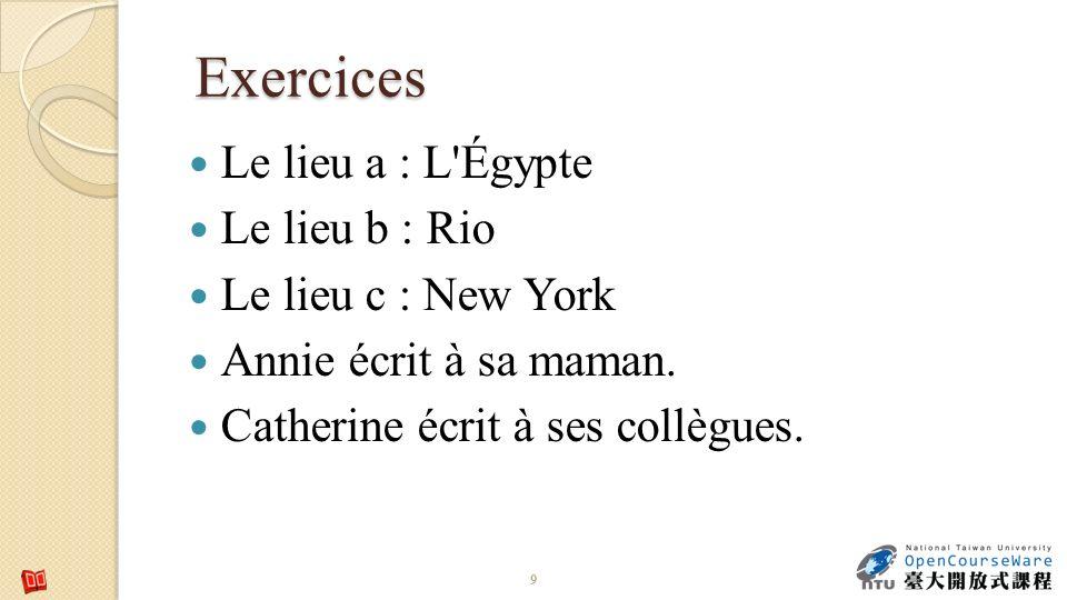 Exercices Le lieu a : L Égypte Le lieu b : Rio Le lieu c : New York