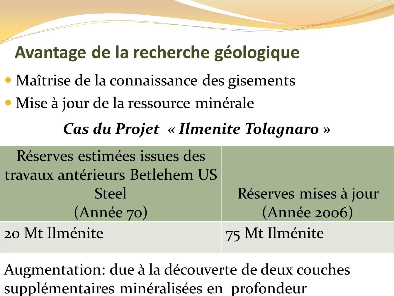 Avantage de la recherche géologique