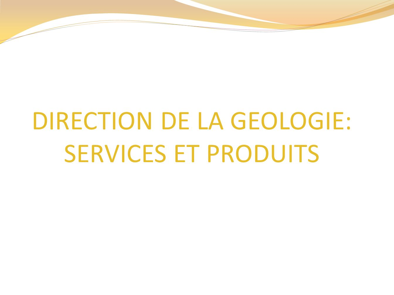 DIRECTION DE LA GEOLOGIE: SERVICES ET PRODUITS