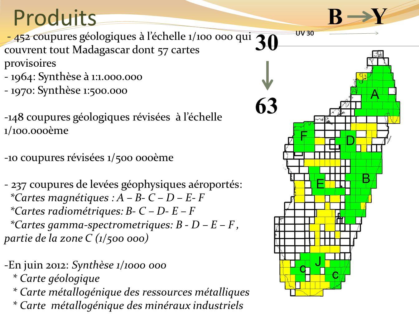 Produits B. Y. - 452 coupures géologiques à l'échelle 1/100 000 qui couvrent tout Madagascar dont 57 cartes provisoires.