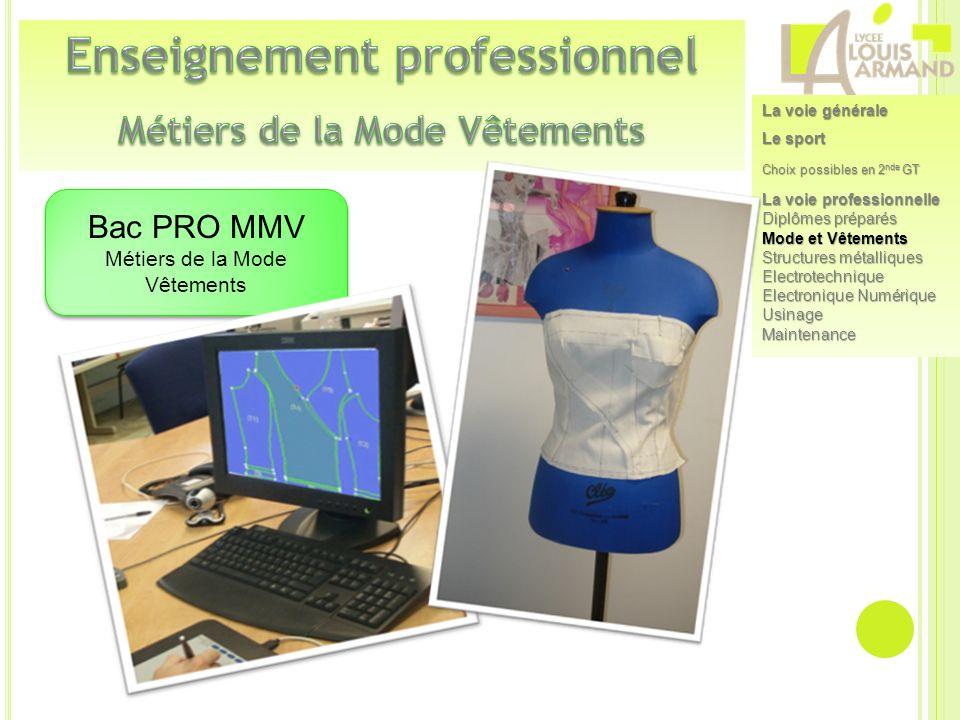 Enseignement professionnel Métiers de la Mode Vêtements
