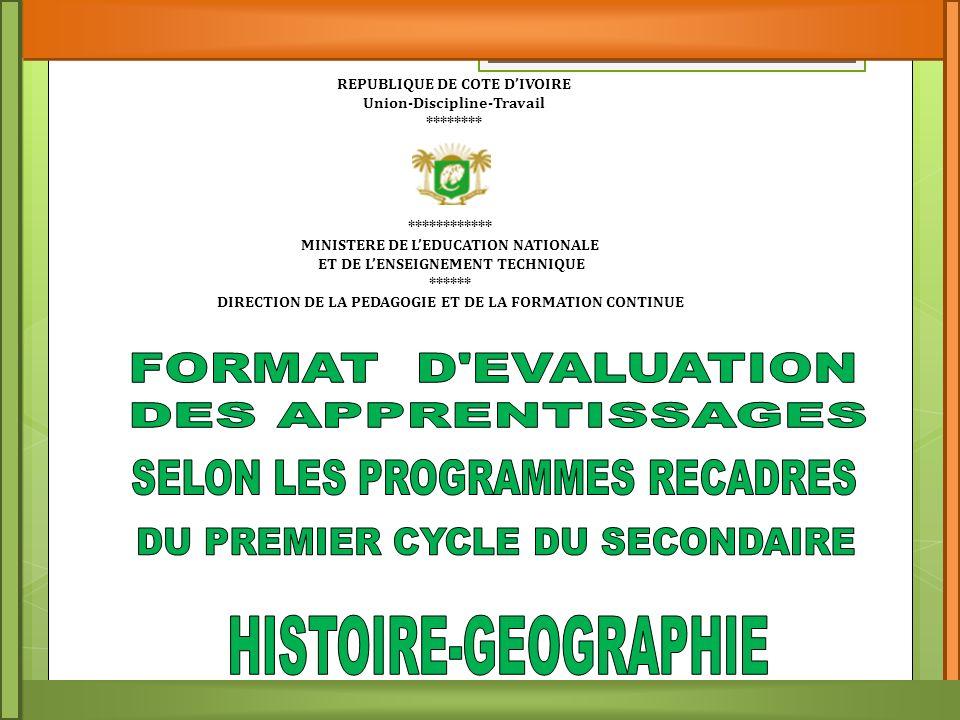 SELON LES PROGRAMMES RECADRES DU PREMIER CYCLE DU SECONDAIRE