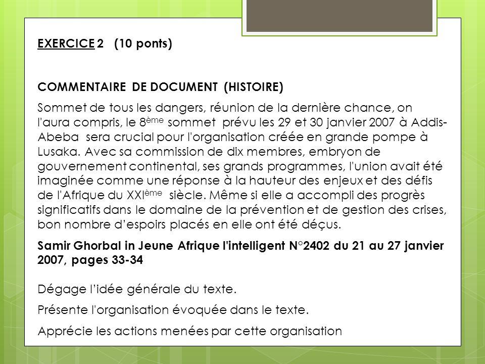EXERCICE 2 (10 ponts) COMMENTAIRE DE DOCUMENT (HISTOIRE)