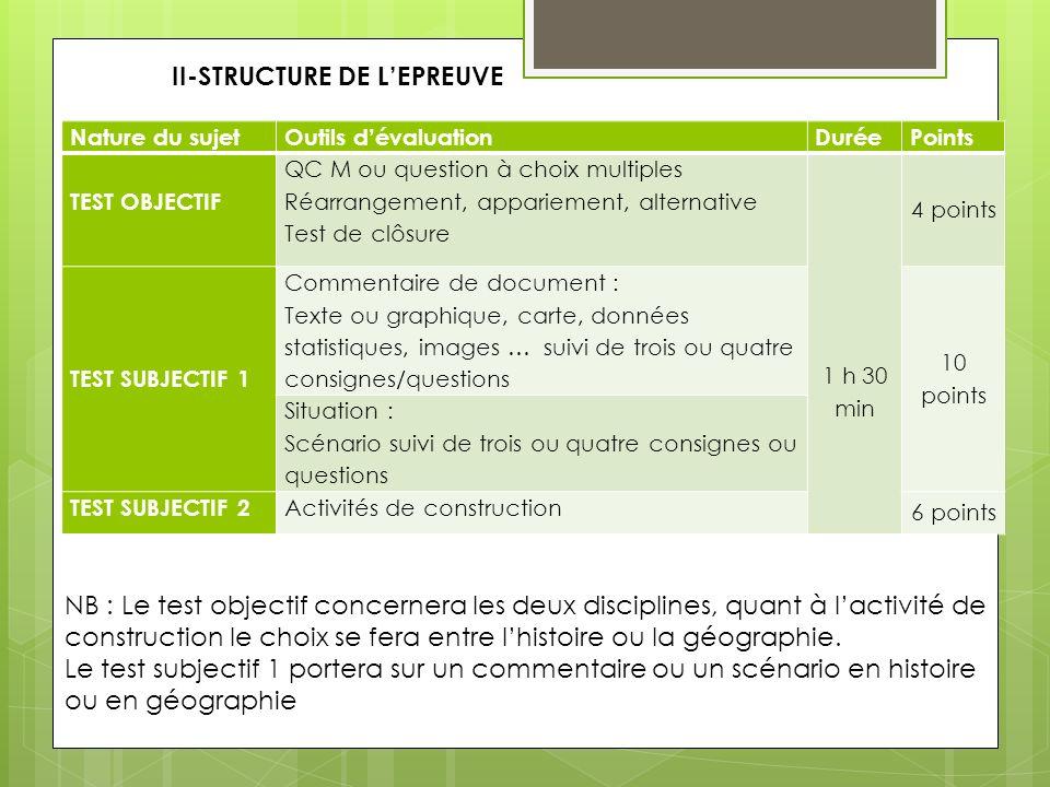 II-STRUCTURE DE L'EPREUVE