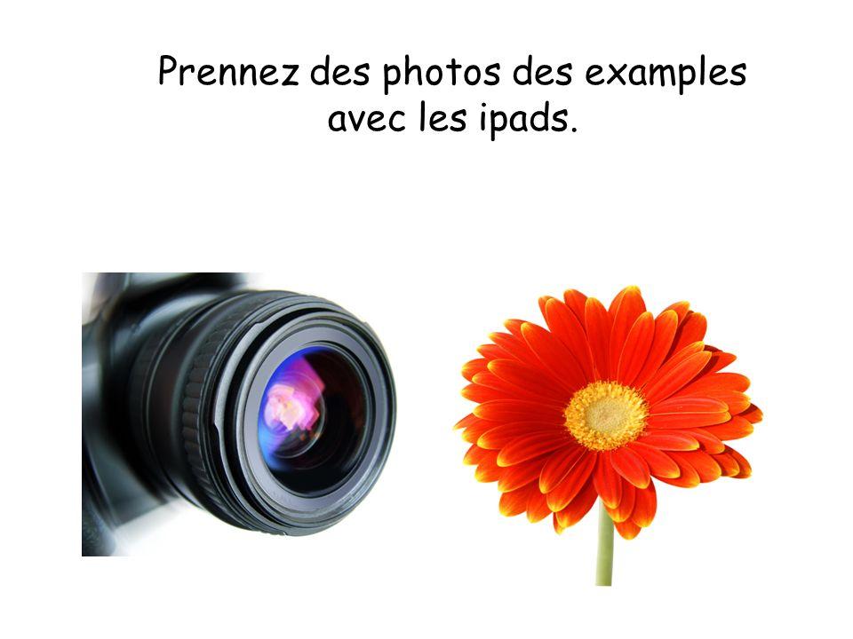 Prennez des photos des examples avec les ipads.