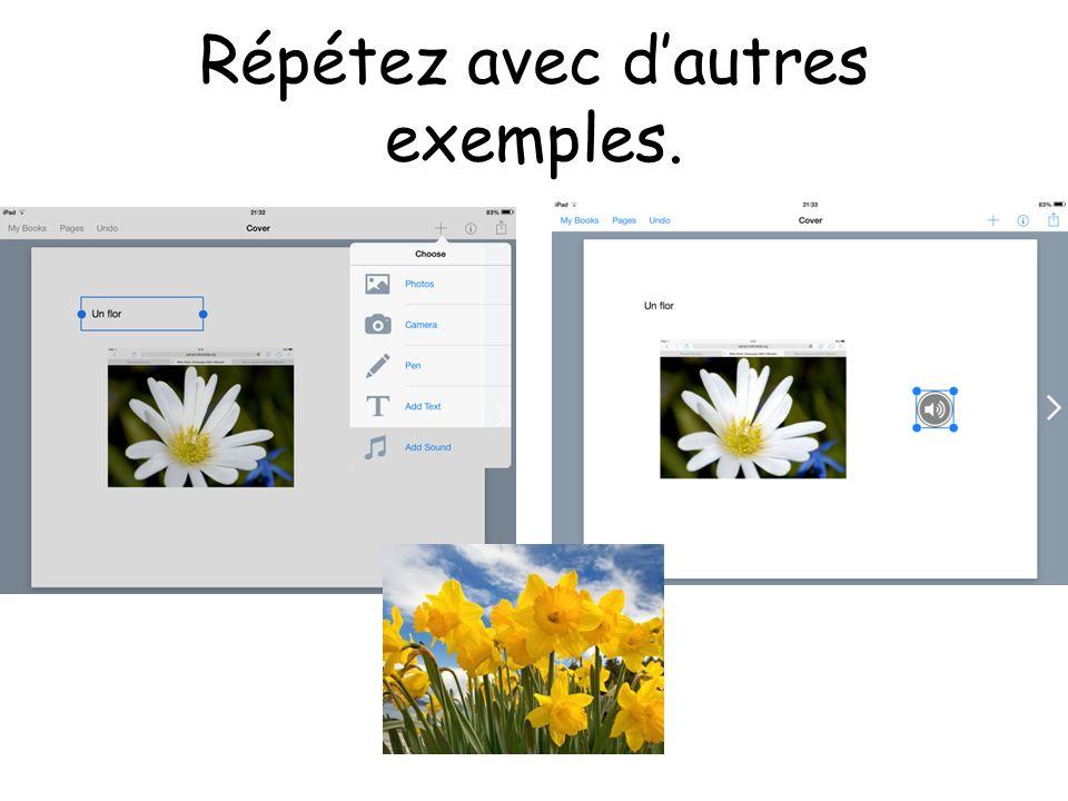 Répétez avec d'autres exemples.