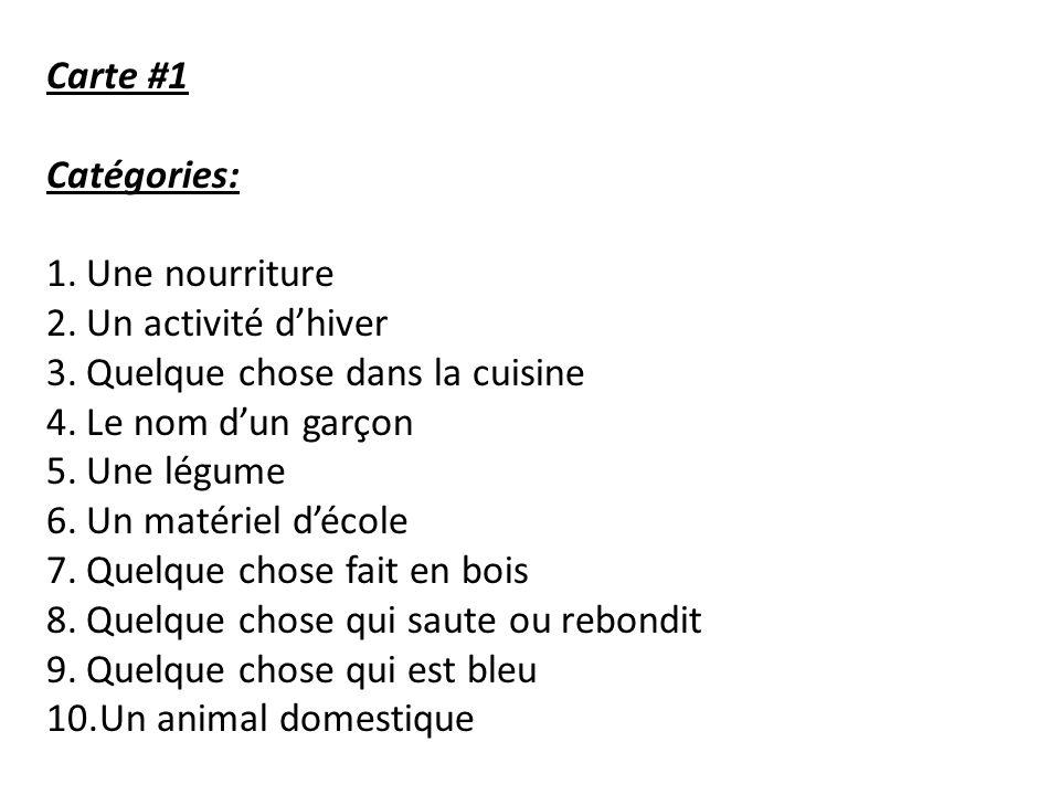 Carte #1 Catégories: Une nourriture. Un activité d'hiver. Quelque chose dans la cuisine. Le nom d'un garçon.