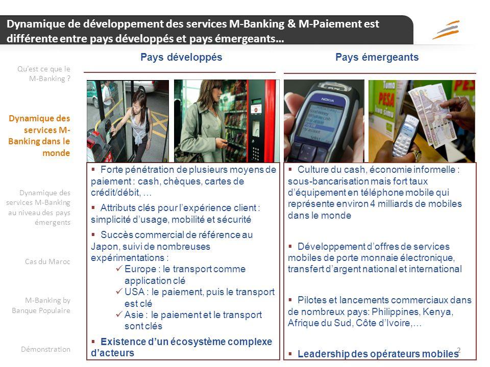 Dynamique de développement des services M-Banking & M-Paiement est différente entre pays développés et pays émergeants…