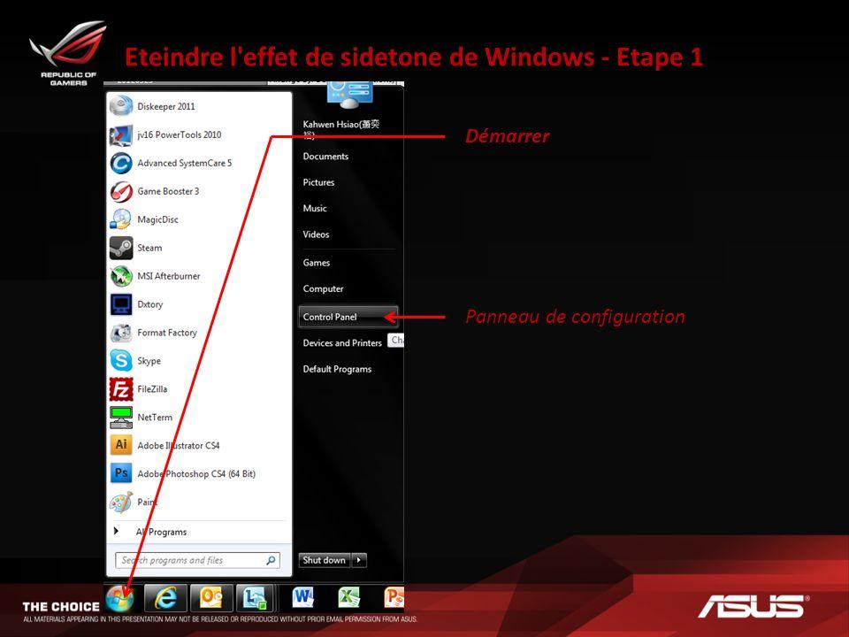 Eteindre l effet de sidetone de Windows - Etape 1