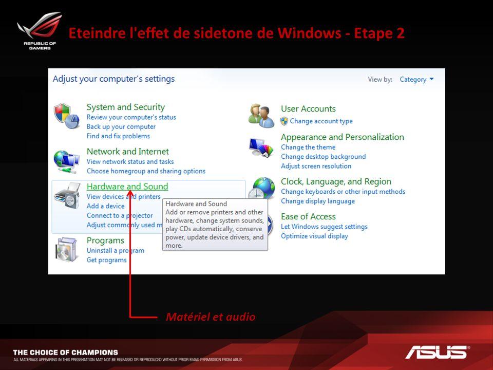 Eteindre l effet de sidetone de Windows - Etape 2