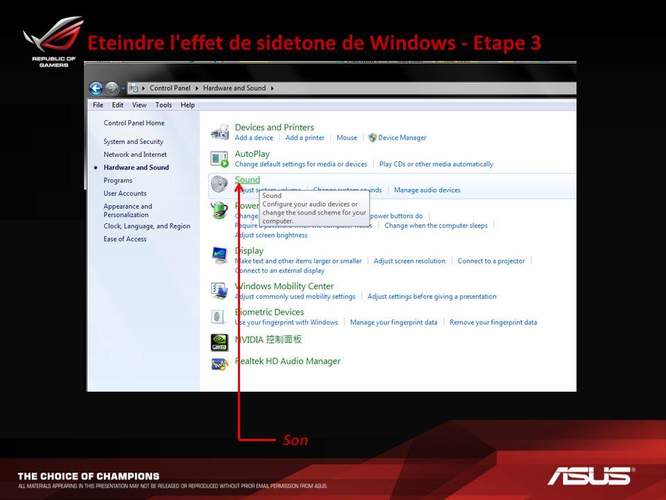 Eteindre l effet de sidetone de Windows - Etape 3