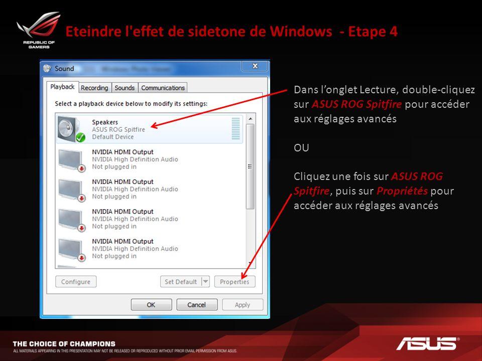 Eteindre l effet de sidetone de Windows - Etape 4