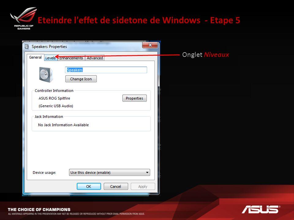 Eteindre l effet de sidetone de Windows - Etape 5