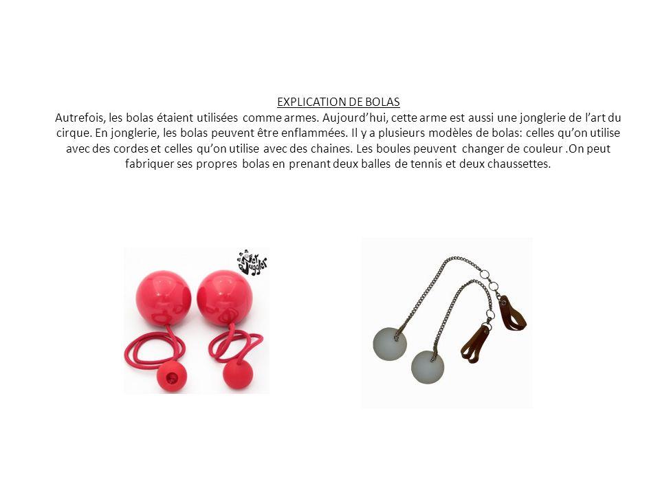 EXPLICATION DE BOLAS Autrefois, les bolas étaient utilisées comme armes.