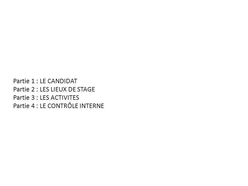 Partie 1 : LE CANDIDAT Partie 2 : LES LIEUX DE STAGE.