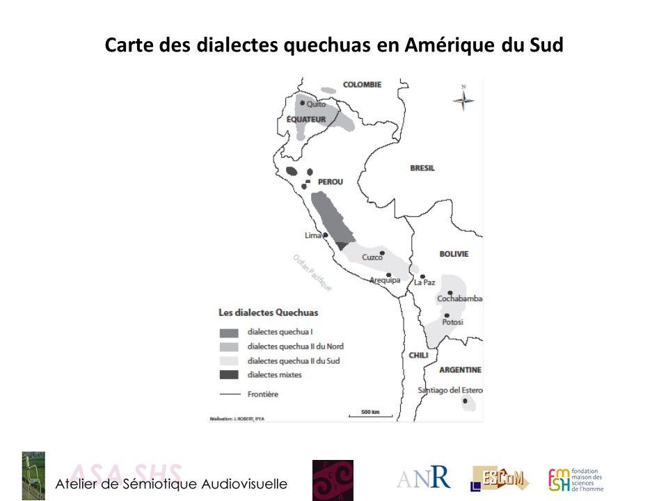 Carte des dialectes quechuas en Amérique du Sud