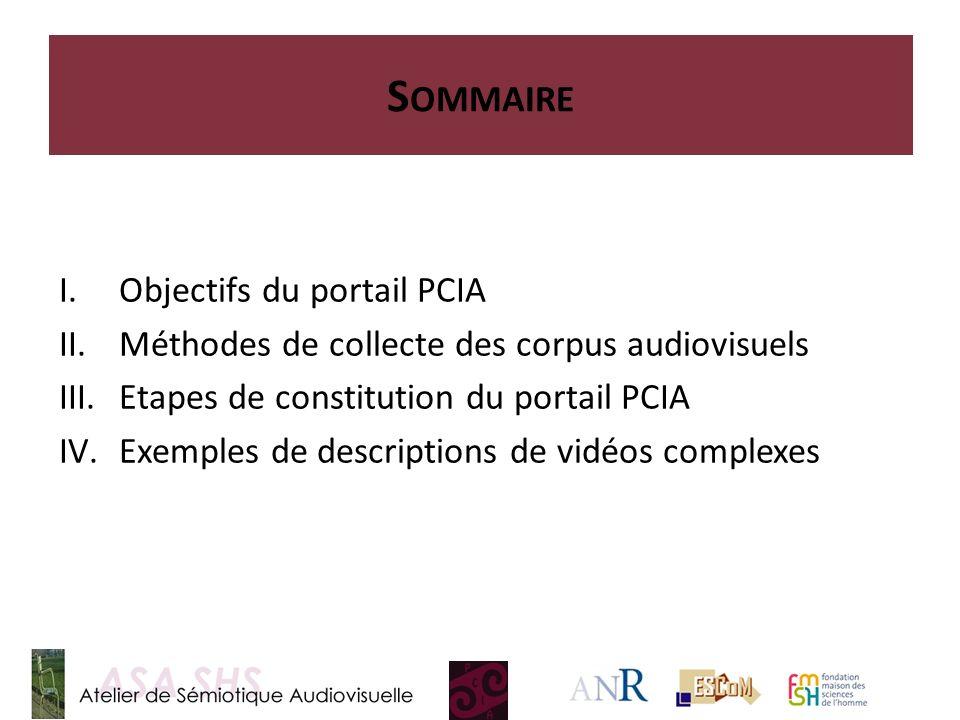 Sommaire Objectifs du portail PCIA