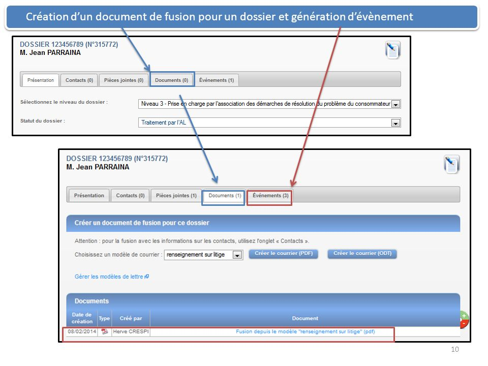 Création d'un document de fusion pour un dossier et génération d'évènement