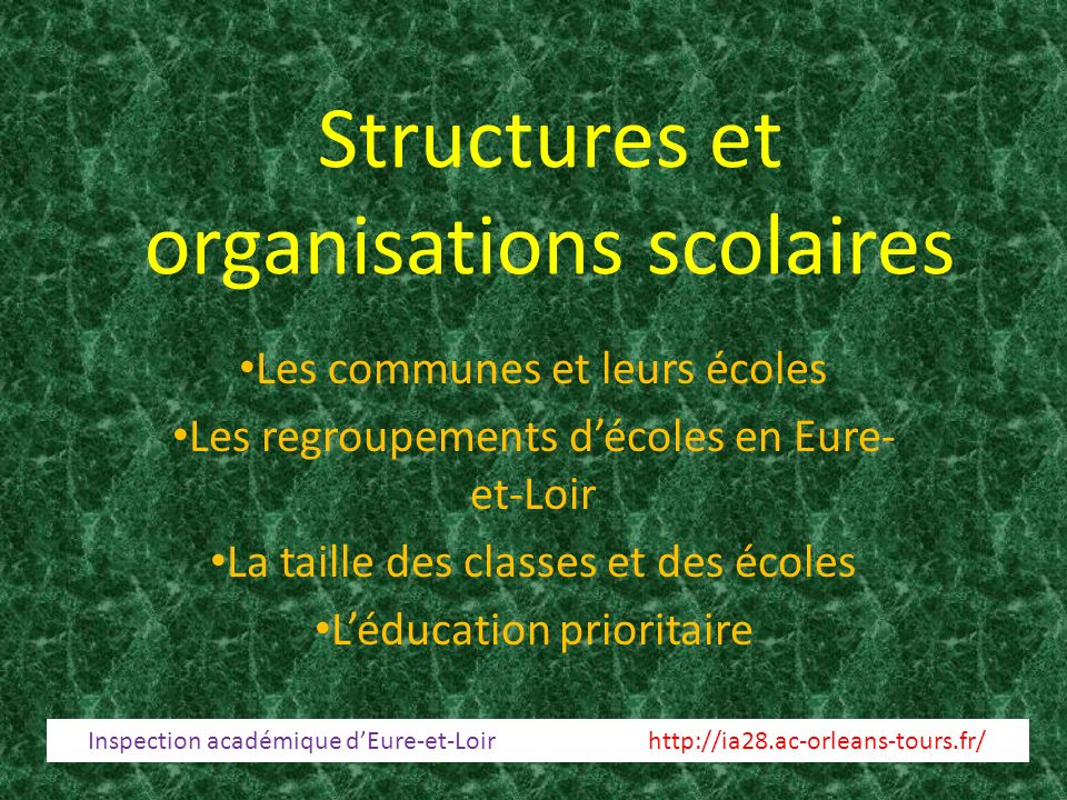 Structures et organisations scolaires