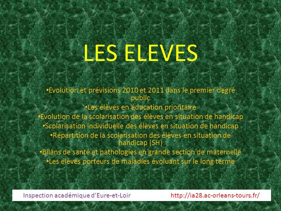 31/03/2017 LES ELEVES. Evolution et prévisions 2010 et 2011 dans le premier degré public. Les élèves en éducation prioritaire.