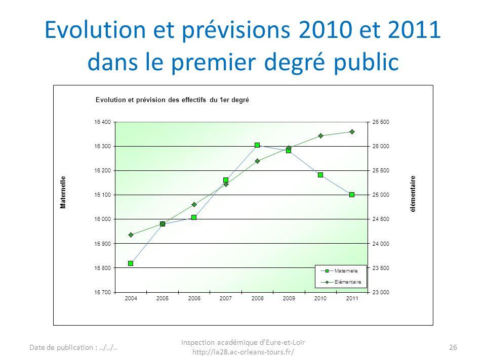 Evolution et prévisions 2010 et 2011 dans le premier degré public