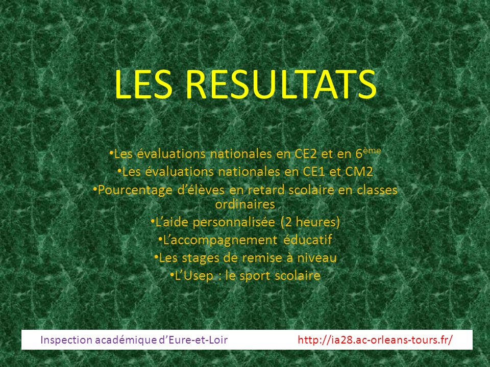 LES RESULTATS Les évaluations nationales en CE2 et en 6ème