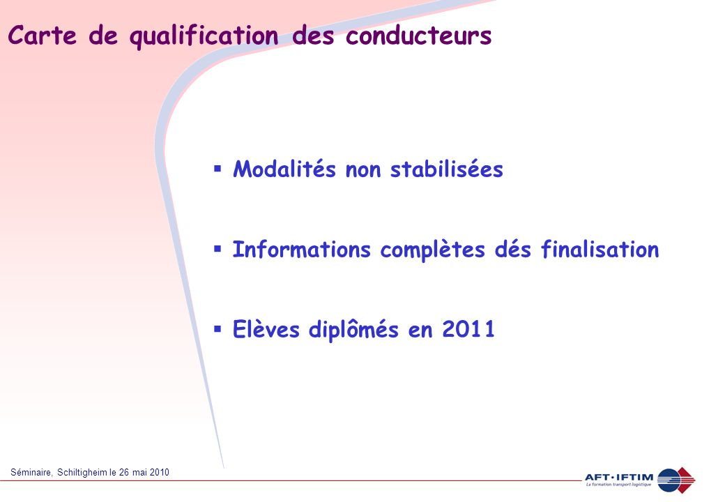 Carte de qualification des conducteurs