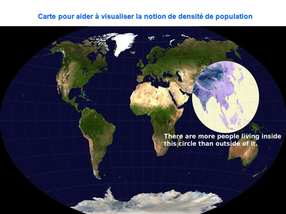 Carte pour aider à visualiser la notion de densité de population