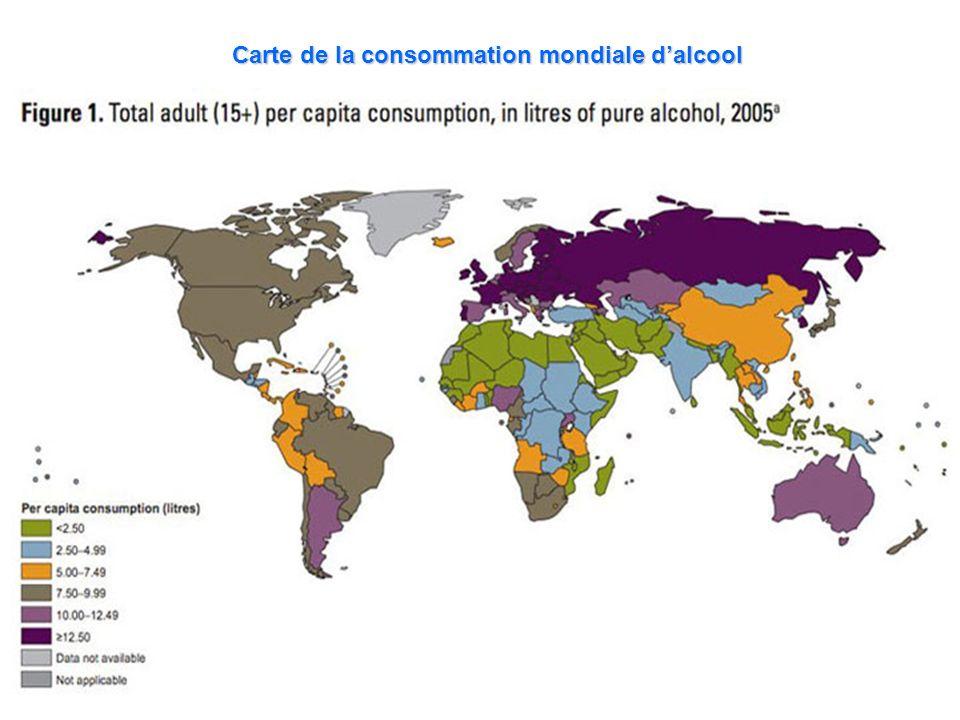 Carte de la consommation mondiale d'alcool