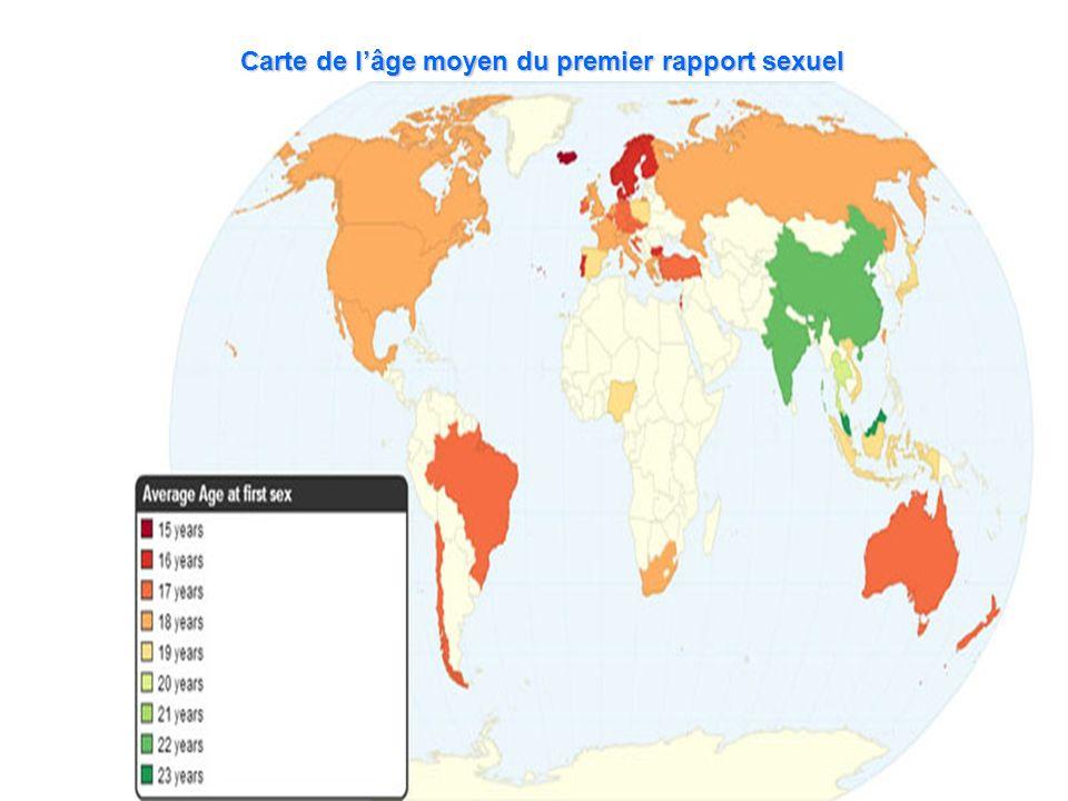 Carte de l'âge moyen du premier rapport sexuel