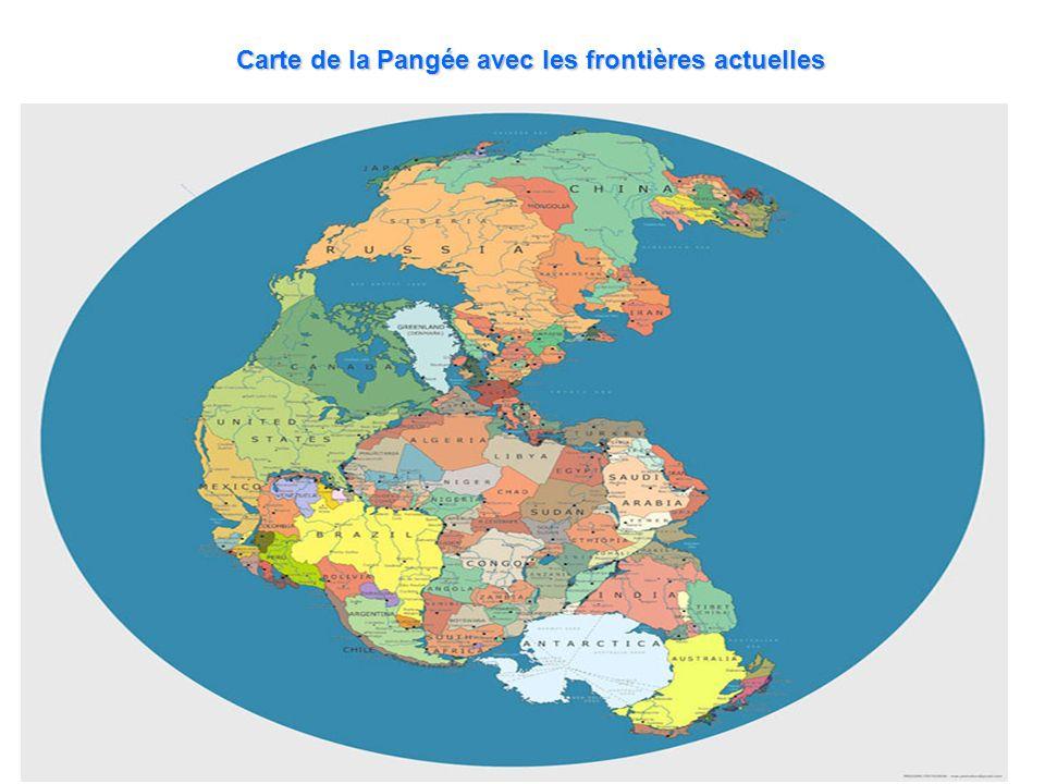 Carte de la Pangée avec les frontières actuelles