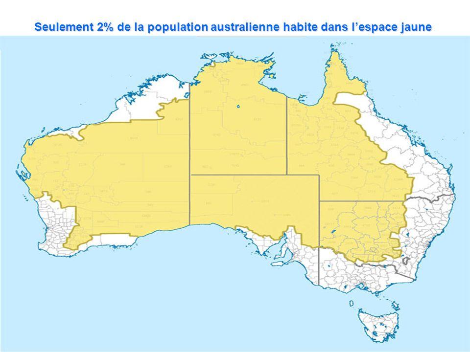 Seulement 2% de la population australienne habite dans l'espace jaune