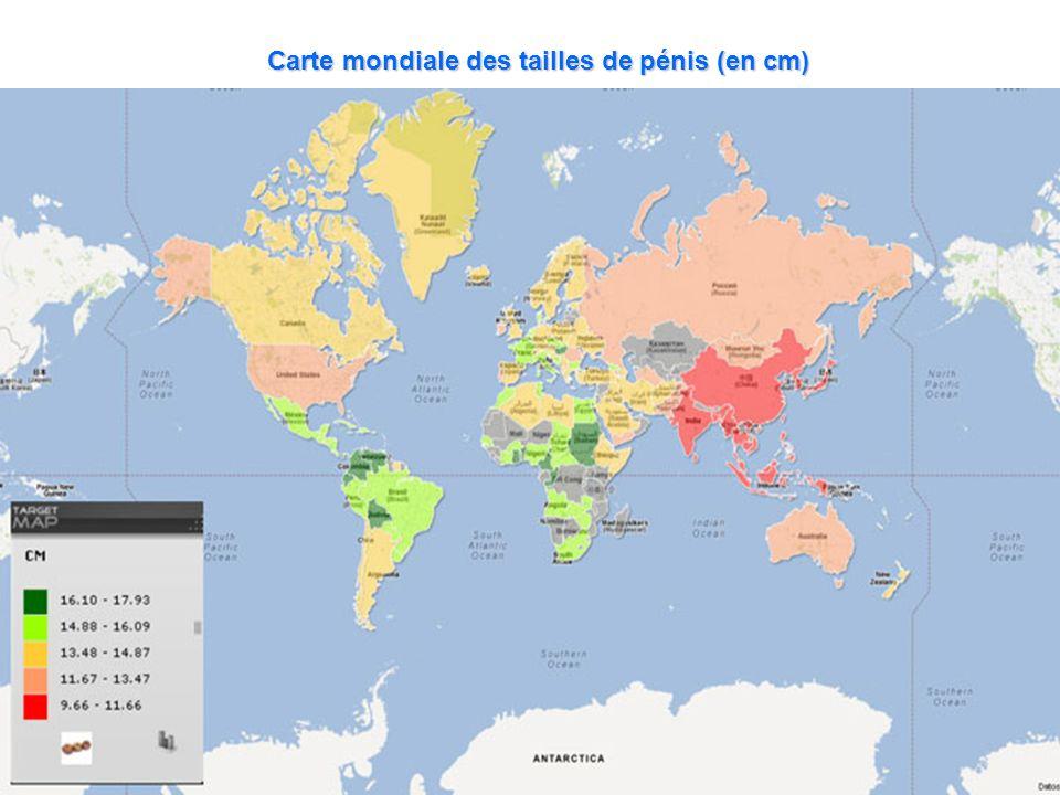 Carte mondiale des tailles de pénis (en cm)