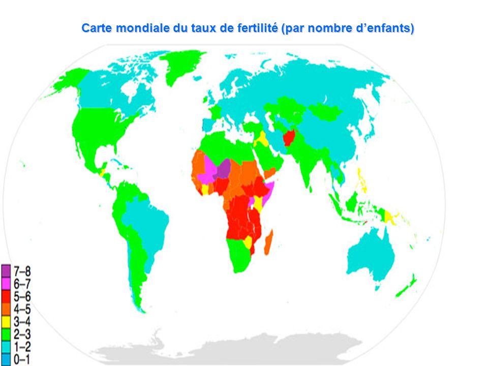 Carte mondiale du taux de fertilité (par nombre d'enfants)