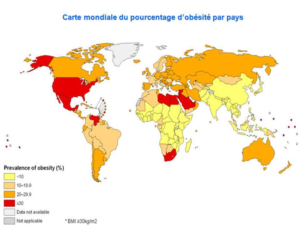 Carte mondiale du pourcentage d'obésité par pays
