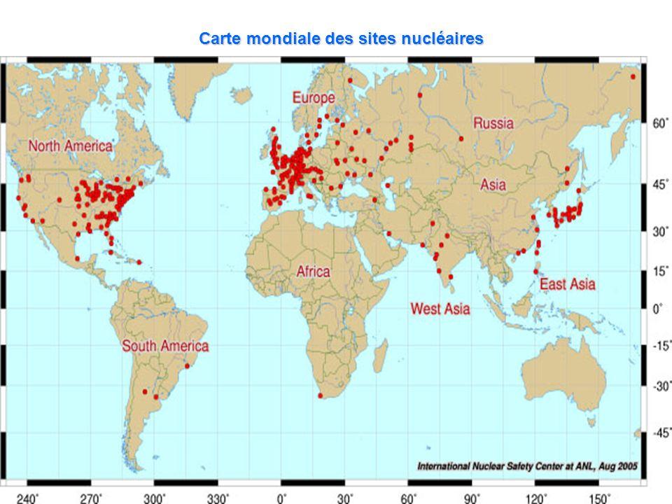 Carte mondiale des sites nucléaires