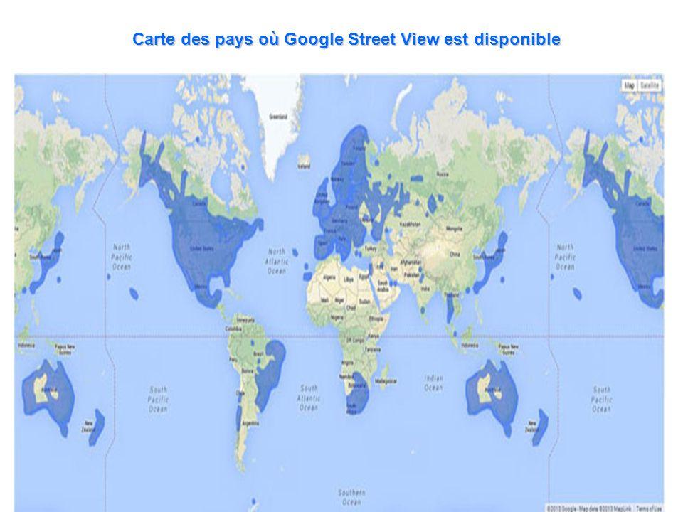 Carte des pays où Google Street View est disponible