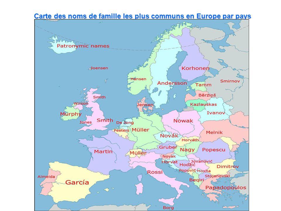 Carte des noms de famille les plus communs en Europe par pays